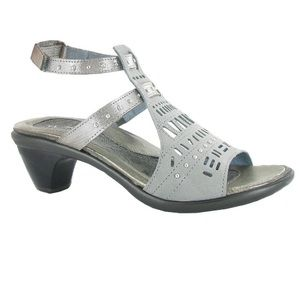 "Naot ""Vogue"" Gray / Silver Threads Sandal 38"